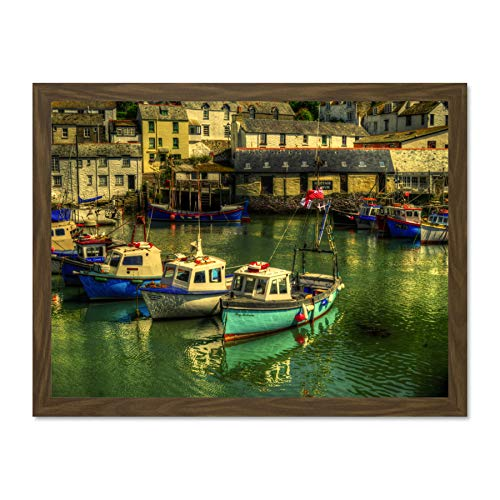 Doppelganger33 LTD Seascape Village Harbour Boats Museum Art Large Framed Art Print Poster Wall Decor 18x24 inch Supplied Ready to Hang -