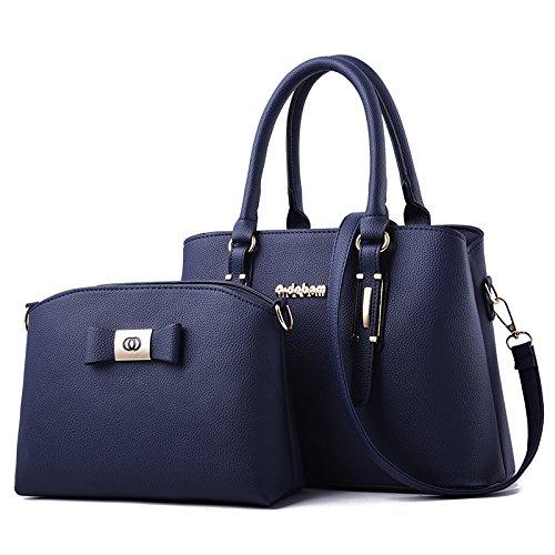 Umhängetasche - Europäische Und Amerikanische Mode Big Bag One Shoulder Crossbody-Einkaufstasche Blau (Glossy Edition Mother Pack)
