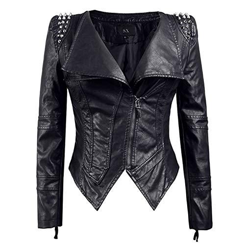 lanke Lederjacke Für Damen, Mode Reine Farbe Reißverschluss Langarm Moto Jacke Für Damen Mädchen Indoor Outdoor Tragen, Schwarz ()