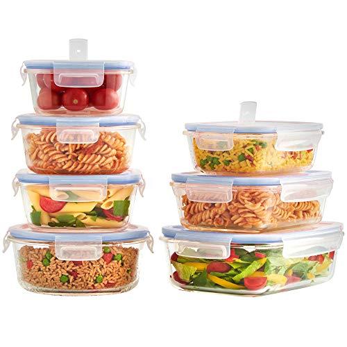 VonShef Lot de 7 Récipients/Boites Alimentaires en Verre avec Couvercle Plastique expulseur d'air