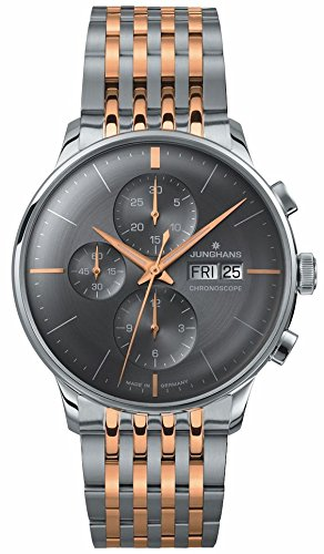 Watch Junghans Meister Chronoscope 027/4527.45Anthracite Grey–2Tone Steel Bracelet Curved Glass, Features An Reduces Risk of damage