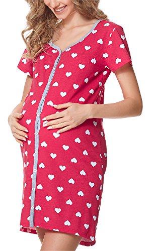 Bellivalini camicia da notte premaman con funzione allattamento blv50-114 (cuori rosa (melange), m)