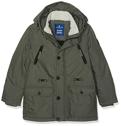 TOM TAILOR Kids urban track parka, Giacca Bambino, Verde (grey olive green), 152