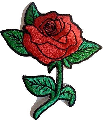 """Toppa adesiva termoadesive toppa jeans stoffa patch toppe termoadesive ricamate ricamata """"8 x 6 cm Fiore di Rosa"""""""