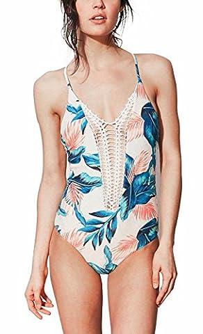 I VVEEL Femme Combinaison de style monokini à manches longues