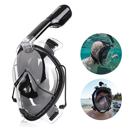 FEMOR Masque de Plongée Unigear Masque Snorkeling Plein Visage 180° Visible Antibuée et Aanti-fuite Sous-Marine avec la Monture pour Caméra Gopro pour les Sports Aquatiques, la Natation