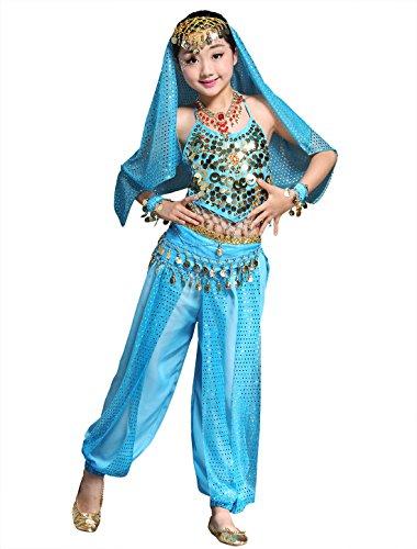 BellyQueen Mädchen Bauchtanz Rock Tanzrock Kinder Ägypten Indische Tanz Outfits 7 Stücke Blau-S (Tanz Performance Kostüm Kinder)