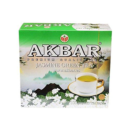 2 cajas de té verde con jazmín, 100 bolsitas con etiqueta x 2g (Akbar Jasmine Green Tea, 200g x 2 Unid., total 400g)