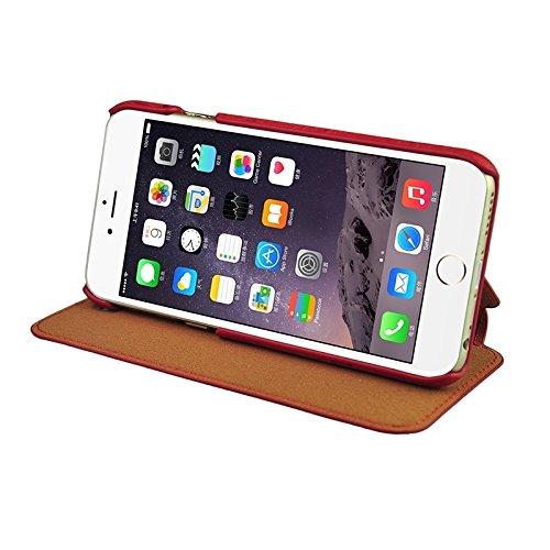 Wkae Case Cover Retro-Stil Holzmaserung Stitching-Leder-Kasten mit Halter für iPhone 6 &6s ( Color : Yellow ) Red