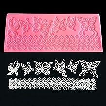 SwirlColor Herramientas de forma de mariposa molde de silicona de encaje de flores de azúcar pasta de azúcar del molde de la torta de la torta de Navidad Decoratin moldes de cocción