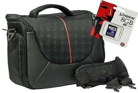 Foto Kamera Tasche YUMA L Set mit 8 GB SD Speicherkarte für Nikon D7200 D610 D500 D80 D5500 D5300 D5200 D5100 D3300