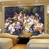 Wongxl Ein Großes Wandgemälde Antike Sofas In Der Wohnzimmerwand Papierhotel Schlafzimmerhintergrundtapete 3D Tapete Hintergrundbild Fresko Wandmalerei Wallpaper Mural 400cmX300cm