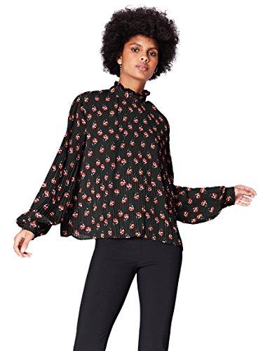 FIND Bluse Damen mit Plissee-Falten und Ballonärmeln, Mehrfarbig (38413), 44 (Herstellergröße: XX-Large) (Damen Plissee-bluse)