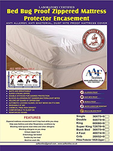 Lab Tested|Anti Allergy Mattress Full Zip Closed Encasement Cover Protector | Bed Bug Proof | Asthma And Allergy Safe | Breathe Safe Free From Dust Mite Allergens | Micro Porous Fabric | Hypo Allergenic |Silent To Sleep On | Fully Breathable (Bed Bug Cover, Small Double)