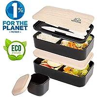 UMAMI® ⭐ Lunch Box Negra Bambú | Bento Box Con 2 Compartimientos Herméticos Y 3 Cubiertos Sólidos | Apto Para Microondas Y Lavavajillas | Duradero, Saludable Y Con Estilo | Apto Para Adultos Y Niños