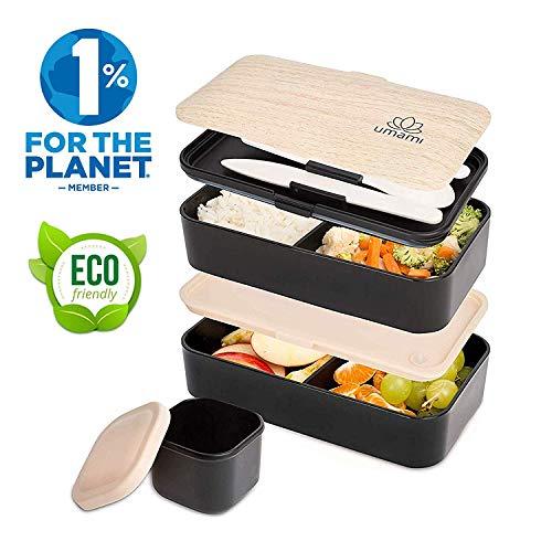 Umami® ⭐ Brotdose Schwarz Bamboo | Lunchbox Mit 2 Luftdichten Fächern Inklusive 3-Teiligem, Robusten Besteck & Salatsoßen-Dose | BPA-Frei | Für Erwachsene & Kinder | Spülmaschinen- & Mikrowellenfest