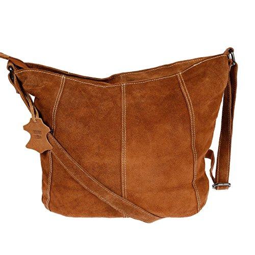 Christian Wippermann Luxus Beuteltasche Damentasche aus butterweichem Wildleder in verschieden Farben Cognac