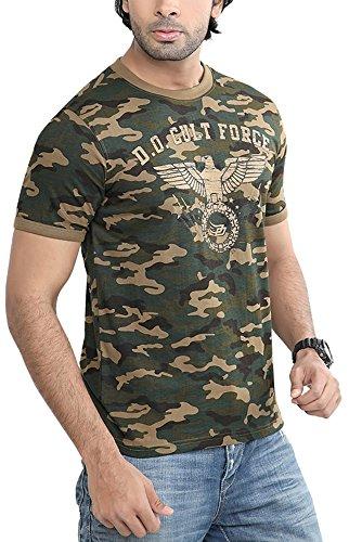 Difference Of Opinion Men's Regular Fit T-Shirt(Camouflagecultforcecrew001, KHAKI, Medium)