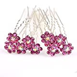 ILOVEDIY 10pcs Fuschia Crystal Rhinestones Bun Hair Pins Accessories for Bridal Weddings