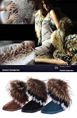 Neve Pelliccia Minetom Cammello Inverno Scarpe Stivaletti Donna Piatti Calda 5Ww618q7S7