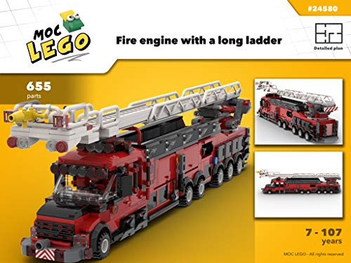 Fire engine with a long ladder (Instruction Only): MOC LEGO (English Edition) (Ladder Fire Truck Spielzeug)