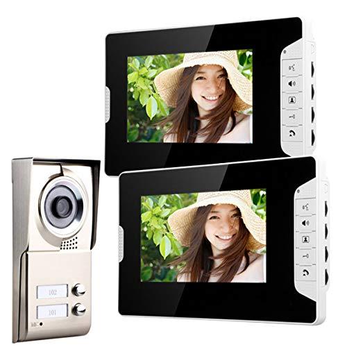AXNYLHY 7inch TFT Video Tür Telefon Intercom System IR-Cut HD 1000TVL Kamera Türklingel Kamera mit 2 Monitor wasserdicht, mit Nachtsicht (Tür Kamera Intercom-system)