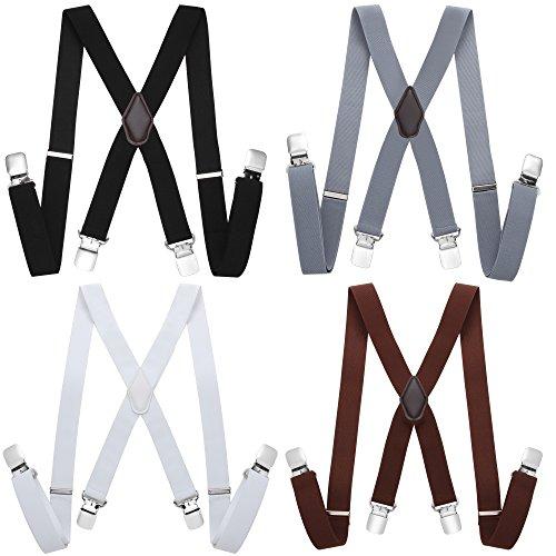 Coucoland Hosenträger X Form mit Metall Clips für Herren Damen Verstellbar Elastisch Hosenträger Set Unisex Hosenträger 4 Stück in 1 Set (Stil 2)