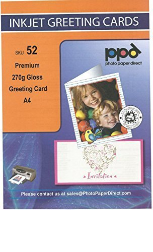 PPD A4 Inkjet Greeting Card Paper Premium Heavy 270g Gloss x 15 Cards