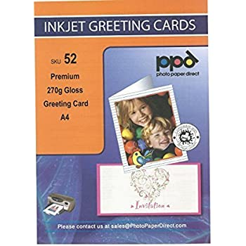 Ppd a4 pre scored inkjet greeting card paper 260g gloss amazon ppd a4 inkjet greeting card paper premium heavy 270g gloss x 15 cards m4hsunfo