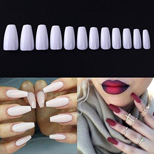 Nicole diary 600pcs ballerina fake nails coffin nail tips long fashion full coverage acrylic false nails with box natural color