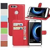 MaxKu Huawei Honor 8 Pro Hülle, Premium PU Leder Mappen Kasten für Huawei Honor 8 Pro Smartphone, Rot