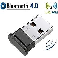 HANPURE Bluetooth USB PC, Adaptador Bluetooth USB, USB Bluetooth 4.0, Plug & Play 2.4 GHz, Auriculares Bluetooth, Mouse, Teclado, impresoras, PC, Compatible con Windows 10/8.1/8/7 / Vista/XP (Negro)