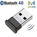 HANPURE Bluetooth USB PC, Adaptador Bluetooth USB, USB Bluetooth 4.0, Plug & Play 2.4 GHz, Auriculares Bluetooth, Mouse, Teclado, impresoras, PC, Compatible con Windows 10/8.1/8/7 / Vista/XP (Negro)