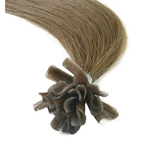 Verklebt Haarverlängerung (Haarverlängerung, vorgebundene Strähnen, Nail-Tip, Remy-Echthaar, glatt, 45,7 cm, Nuance 8 Hellbraun, 25 Stück)