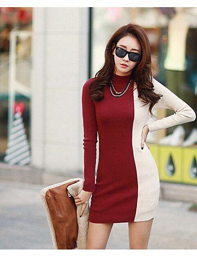 PU&PU Robe Aux femmes Moulante Simple / Street Chic,Couleur Pleine Col Ras du Cou Mini Coton / Polyester RED-L