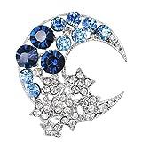 Lumanuby 1X stella blu Corsage Damen cavo brillante strass Brooch vestiti Deco per abito/vestito/Blusa, spilla serie Size 3.4x 3.4cm