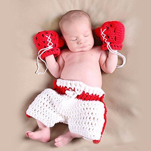 ENCOCO Baby Boxerhandschuhe Fotografie Requisiten Neugeborene Foto-Shoot Outfits Häkelkostüm Kleinkind Jungen Mädchen Strick Boxhandschuh Windel Set rot