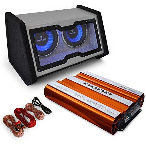 auna Bassopahnt Set audio para coche (amplificador de 4000W de potencia de 4 canales, subwoofer dual de 2 x 12W y 12')