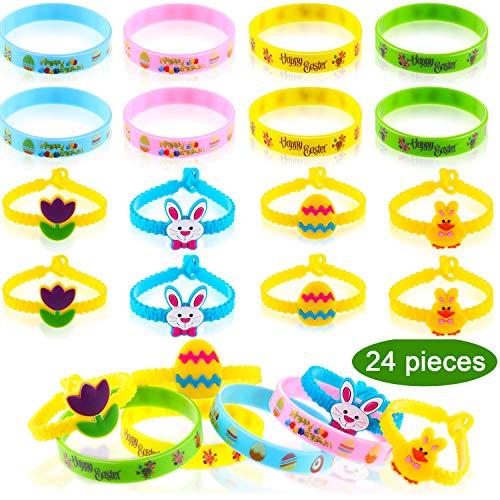 (Chengu 24 Stücke Ostern Gummi Armbänder Silikon Armbänder Ei Bunny Armbänder Eier Jagd Partei Bevorzugung für Kinder Ostern Parteien)