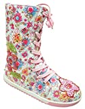 Girls Floral Beaded Lace Up Boxer Style Calf Boots Trainers UK Shoe Sizes from 6 to 2
