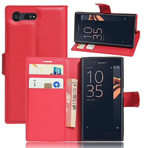 IVSO Sony Xperia X Compact Funda Case - Slim Armor Cover Funda Protectora para Sony Xperia X Compact Smartphone(Slim Book Series - Rojo)