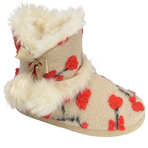 Da Donna, A Maglia DUNLOP Soffice Pelliccia Morbida Caldo Comodo Nordico Yeti Stivale Pantofola A Stivale Crema Julia