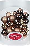 Magic 25 Stk. Weihnachtskugel 2cm Glas Weihnachtsschmuck Weihnachtsdeko Deko Box, Farbe: Elegant Lounge (Schokolade Braun)