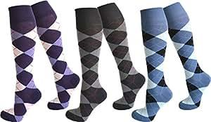 3 Paar Kniestrümpfe für Teenager und Damen im Karo Design Farbe Farbset1 Größe 35-38