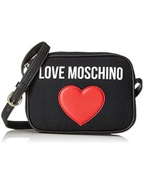 Love Moschino Damen Leinwand-Logo-Clutch-Tasche Schwarz