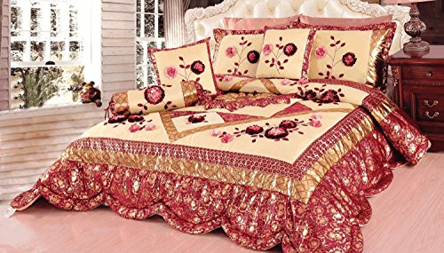 Tache 4–6Stück Floral Rot und Gold Rose Garden Patchwork Tröster, Quilt Set, Polyester-Mischgewebe, Red, Gold, Pink, Multi, King Size (Blossom Floral Bettwäsche-set)