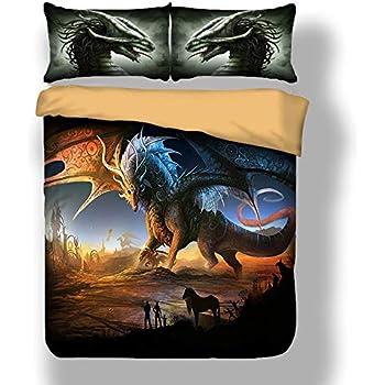 taie doreiller Double Dragon Shamdon 2018/Motif dragon Tissu tr/ès doux Housse de couette Parure de lit Comprennent Housse de couette 150x200 cm- for 1.2M bed