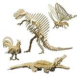 matches21 3D Tiere Holz Bausatz 4er Set Hahn Krokodil Dinosaurier Schmetterling Holzbausätze Steckbausätze Kinder ab 8 Jahren
