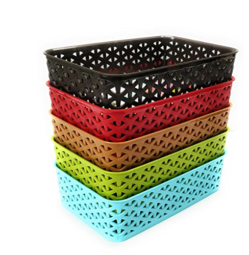 CSM Multipurpose Basket Fridge Basket Fruit Basket Storage Basket – Set of 5 Baskets in Assorted Colors