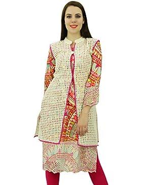 Phagun étnico algodón de la tapa Mujeres modelo abstracto Kurti diseñador vestido de la túnica